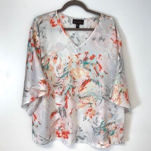 Dana Buchman | watercolor floral pull over blouse